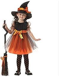 DOGZI Ropa Bebé Halloween, 2PC Ssts Niños Halloween Disfraces Niñito Niños Bebé Chicas Ropa de Halloween Vestimenta de Disfraces Fiesta Vestidos + Sombrero Equipar