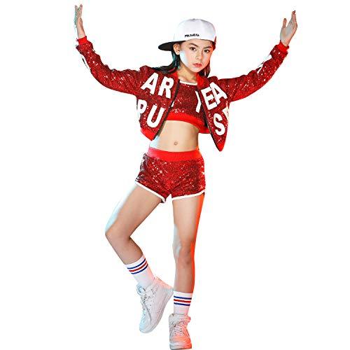 Kinder Pailletten Jazz Dance Kostüm Mädchen Jungen Hip Hop Glitter Dance Kleidung ()