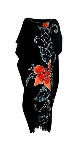 Cool Kaftans - Kaftan Noir Motif Fleur Orchidée Plage Tissu Doux Cool Kaftans