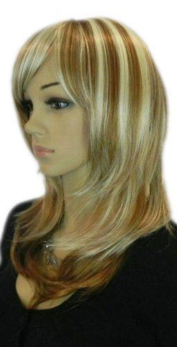 QIYUN.Z Moyen Longueur Raide Blond Brun Mixte Resistant Chaleur Fibre Synthetique Cheveux Cosplay Anime Costume Perruque