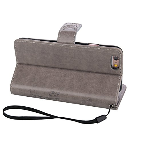 Sunroyal iPhone 6 Plus iPhone 6S Plus 5.5 Zoll Schutzhülle / Cover / Handyhülle / Etui Schmetterling Muster Design Folio PU Leder Tasche Case Hülle im Bookstyle mit Standfunktion Kredit Kartenfächer - Grau