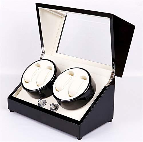 QHCGOOD Automatischer Uhrenbeweger, gebackener Farben-Doppelkopf 4 + 0 Automatischer Wickelmotor Kasten 4 Modi Timer PU-Leder-Umdrehungs-Uhr-Speicher-Anzeigen-Kasten 332 * 180 * 195mm - Leder-optionen-beenden