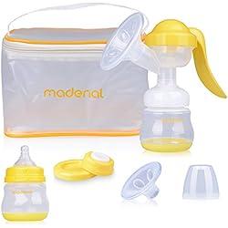 MADENAL Sacaleches Set, ajustable extractor de leche manual, con cojín masajeador, incluye biberón 150 ml