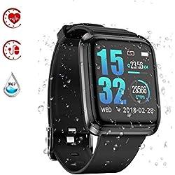 Reloj Inteligente,Smartwatch Pulsera Actividad Inteligente Impermeable IP67 (Black)