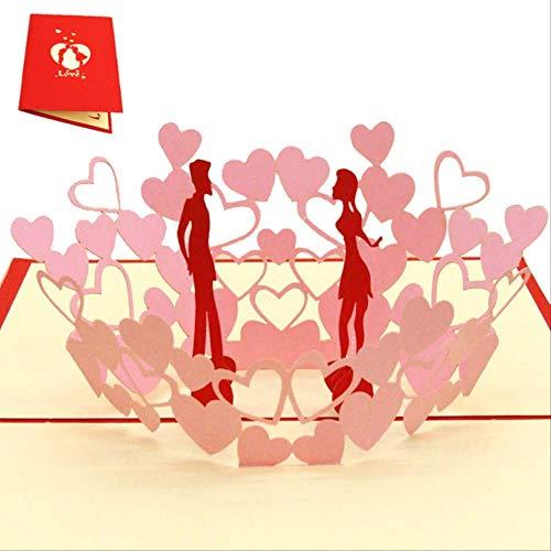 CHZDSB Grußkarte 3D Pop-Up-Karten Hochzeitseinladungen Partyeinladungen Babyparty-Geschenke Hochzeitsgrußkarten-Jahrestagsgeschenke PostkarteVerlieben