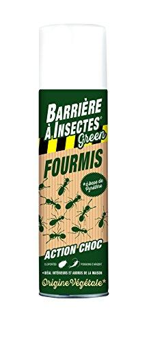 BARRIERE A INSECTES GREEN Aérosol Anti-Fourmis, À base de pyrèthre végétal, Prêt à l'emploi, Pour la maison et ses abords, 500 ml, BARBIOFOL500
