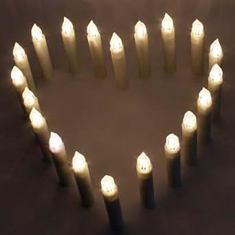 aLLreli 20er-Set Kabellose Lichterkette Kerzen LED-Weihnachtskerzen Warmweiß Kerzenlichter inkl. AAA Batterien und Fernbedienung für Außen,Weihnachtsbaum,Weihnachtsdeko,Party,Hochzeit