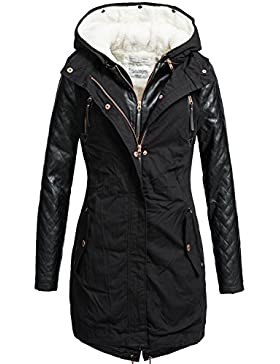 Rock Angel 44265BRS - Abrigo con chaqueta interior extraíble 2 en 1 para mujer