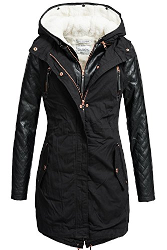 Rock Angel Damen Mantel Wintermantel Winterparka 44265BRS Schwarz Gr. S