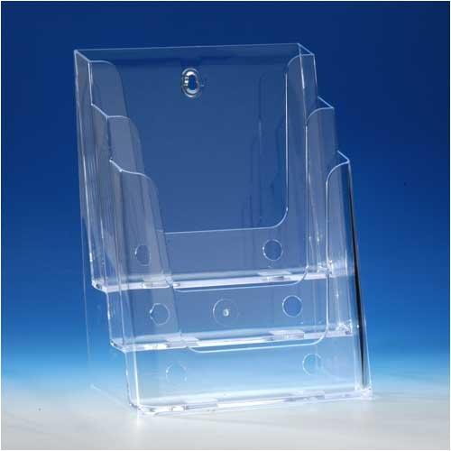 VITAdisplays Tisch-Prospektständer, DIN A4, 3 Etagen, Transparent (NE-240)