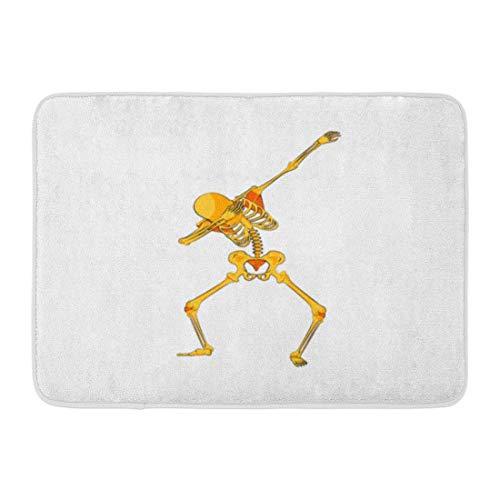 Fußmatten Bad Teppiche Outdoor/Indoor Fußmatte Lager Orange Gelb Skeleton Charakter Tanzen Tupfen Schritt Hip Hop Pose Meme für Happy Halloween Cartoon Badezimmer Dekor Teppich Badematte (Happy Halloween-lustiges Meme)