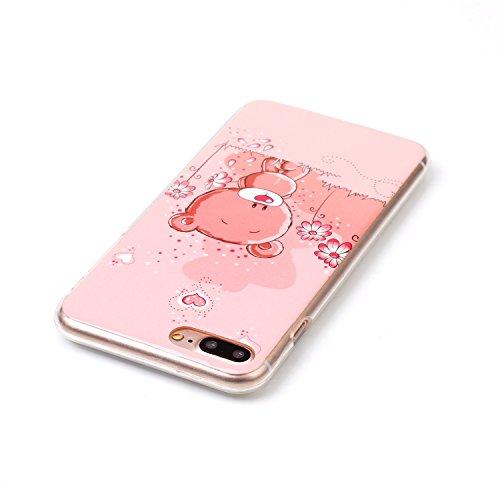 iPhone 7 Plus Hülle,iPhone 7 Plus Silikon Case,iPhone 7 Plus Cover - Felfy Ultra Dünne Weicher Slim Gel Flexible Soft TPU Silikon Hülle Schutzhülle Silikon Hülle Muster Farbmalerei Beschützer Hülle Ha Bär