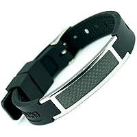 Magnetische Silikon Armband Edelstahl Magnet Energie Germanium 7in1 - schwarz, größenverstellbar preisvergleich bei billige-tabletten.eu