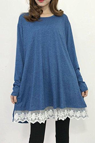 YACUN Le Donne Manica Lunga Camicia Mini Vestito Casual Camicetta Mosaico Blue