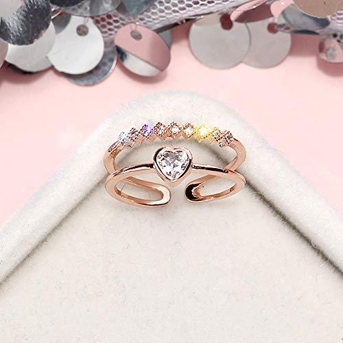 YBZS Herzförmiger offener Damenring, modischer Diamantring aus Reiner Kupferlegierung, größenverstellbar, geeignet für die tägliche Arbeit, Hochzeiten, Geschenke,Gold