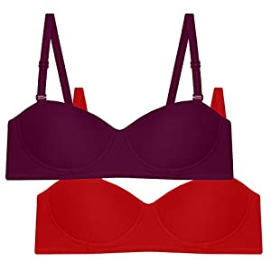 Tweens women's Demi Cup Purple Red Non Padded T-Shirt Bra Pack of 2 | TW101-DPR-2PC-RD_AS_36C