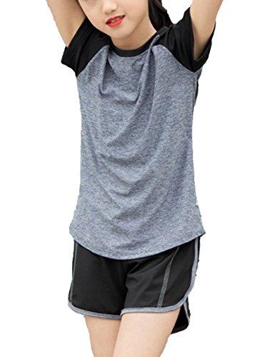 Echinodon Mädchen Sport Set Shirt + Shorts Schnelltrockend Anzug für Yoga Jogging Training Grau
