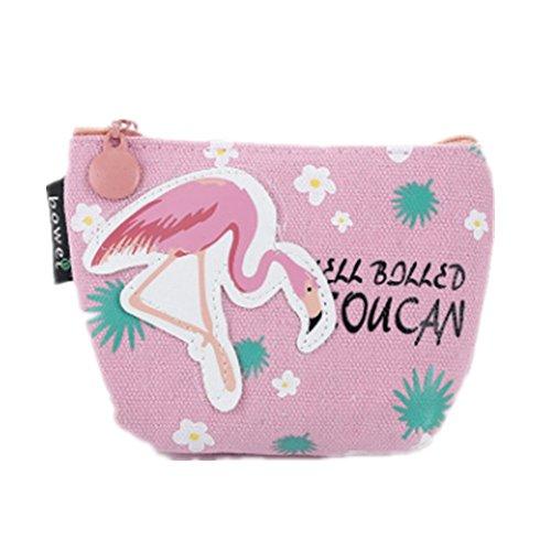Drawihi Flamingo-Grafiken klein Beutel Münze Portemonnaie Brieftasche Münze Tasche Halterung Aufbewahrung Tasche tragbare Kosmetiktasche für Damen, Mädchen und Studenten (Rosa)