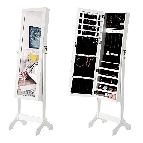 Modern Luxe  Schmuckschrank Standspiegel Spiegelschrank Schminkschrank Schmuckkasten abschließbar mit Schlüsseln Ganzkörperspiegel Große Aufbewahrungsbox für Ringe, Ohrringe, Halsketten, Weiß