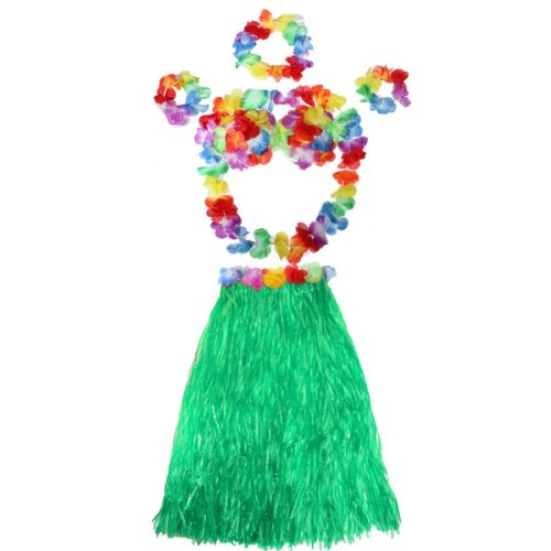 5-in-1 Hawaii Tropical Hula Grass Dance Shirt BH Blume Armbänder Stirnband Halskette Set