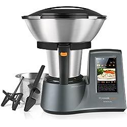 """Taurus Mycook Touch - Robot de cocina por inducción de 40 a 140º C, pantalla táctil de 7"""", 10 velocidades y cuatro funciones especiales, 1600 W, Acero Inoxidable, Gris"""