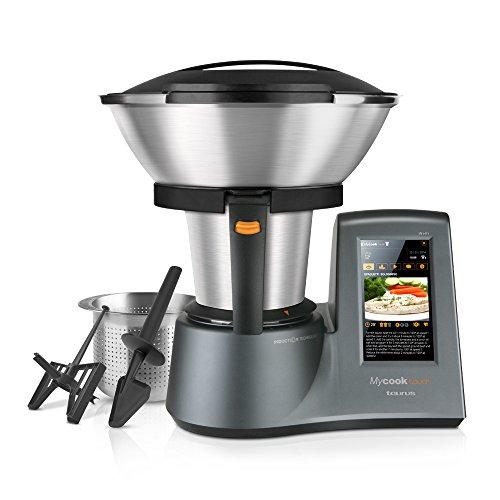 Taurus Mycook Touch - Robot de cocina por inducción de 40 a 140º C, pantalla táctil de 7', 10 velocidades y cuatro funciones especiales, 1600 W, Acero Inoxidable, Gris