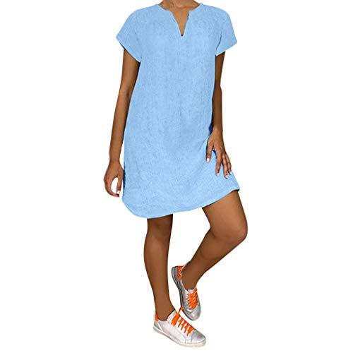 Lazzboy Damenmode Lose Freizeit V-Kragen Kurzarm Damen Leinenkleid Sommer V-Ausschnitt Kleid Boho Sommerkleid Leinen Kleider Strandkleider A-Linie(Blau,XL) -