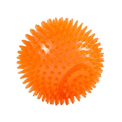 POPETPOP 6cm Dog Spike Ball Hund unzerstörbarer Ball Squeaker Ball für Training und Zahnreinigung (Orange)