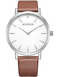 RONMAR Reloj de Pulsera de Cuarzo con Correas Marrón de Cuero de Becerro para los de Negocios