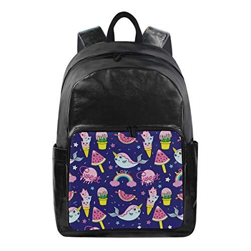 DOSHINE Wasserdichter Rucksack, EIS, Kaktus, Sterne, Regenbogenwal, Reisetasche, Computer-Tasche, Tagesrucksack für Herren, Damen, Jungen, Mädchen -