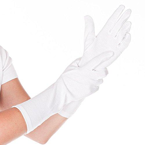 hygo Star Gants en coton extra long 35 cm - Blanc - 12 paires