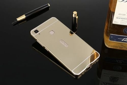 Johra Premium Luxury Metal Bumper Acrylic Mirror Back Cover Case For Vivo Y51L Mirror Back Cover - Golden