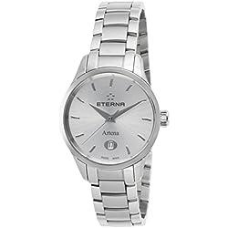 Eterna–2530–41–10–0286Mujer artena Silver-tone Dial reloj de acero inoxidable