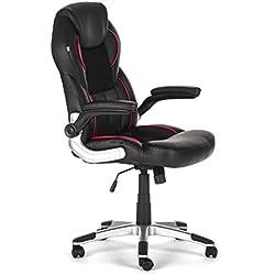 Silla de oficina giratoria escritorio altura ajustable cuero sintético sillón diseño silla con reposabrazos ajustable Recubrimiento Nuevo Indianapolis en negro de MY SIT