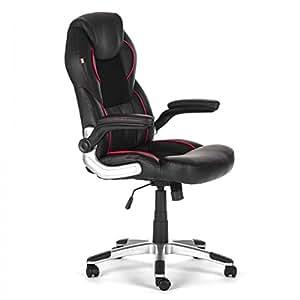 MY SIT Chaise de bureau Siège de bureau Fauteuil Design Noir Indianapolis avec accoudoir rembourrés