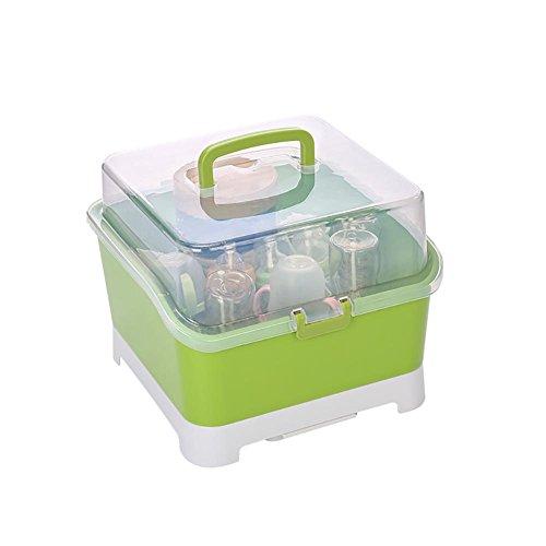 HTTMYY Baby Milch-Flasche Geschirr-Aufbewahrungsbox Trockene Rack Abtropfen Lassen Staubschutz Multifunktions Portable , green