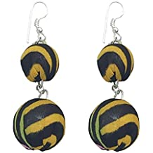 I was a Sari Beads Collection Yellow & Black Bead Earring for Women