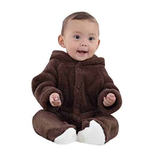 (Babykleidung,Transwen Neugeborenes Baby Jungen Mädchen Lange Ärmel Halten Warmen Karikatur mit Kapuze Spielanzug Overall Herbst Strampler Set (3M, Braun))