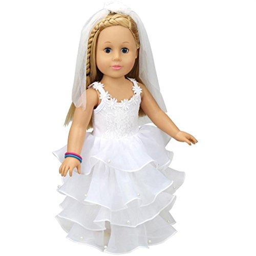 Baby Puppe Kleidung Kleid für 45,7cm American Girl Puppe Unsere Generation mingfa Pretty Hochzeit Party Rock Puppe Zubehör