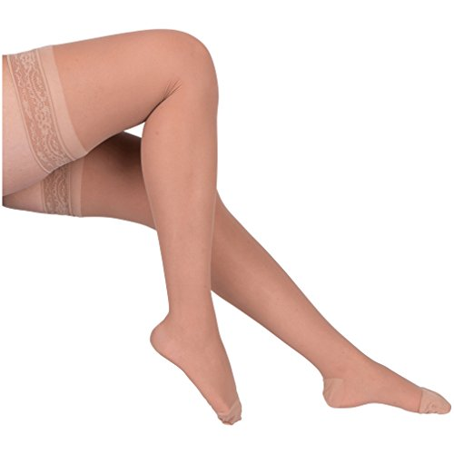 EvoNation Women's USA Made Thigh High Graduated Compression Stockings 15-20 mmHg Moderate Pressure Ladies Sheer Socks Lace Top Quality Support Hose - Best Comfort Circulation (Medium, Tan Beige Nude) by EvoNation (Tan Top Lace)