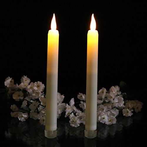2er Set LED Tafelkerzen Spitzkerzen - 23cm Flackernde Batterie Kerzen Creme für Kirche, Gastronomie, Feste von PK Green