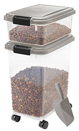 IRIS Airtight Pet Food Container Combo Kit, Chrome/Black by IRIS USA