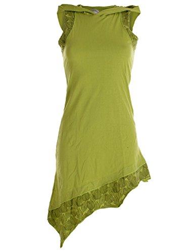 Vishes - Alternative Bekleidung - Asymmetrisches Damen Elfenkleid Baumwolle mit Zipfelkapuze hellgrün ()