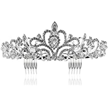 Tinksky Boda novia de diadema corona brillante diadema de diamantes de  imitación Tiara de cristal ( fbf10f65384e