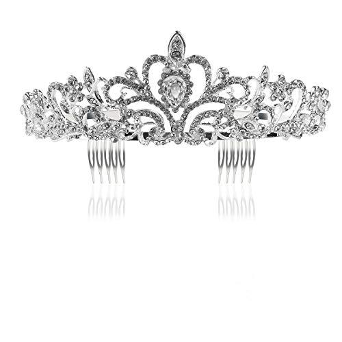 861d32a8 Tinksky Boda novia de diadema corona brillante diadema de diamantes de  imitación Tiara de cristal (plata)