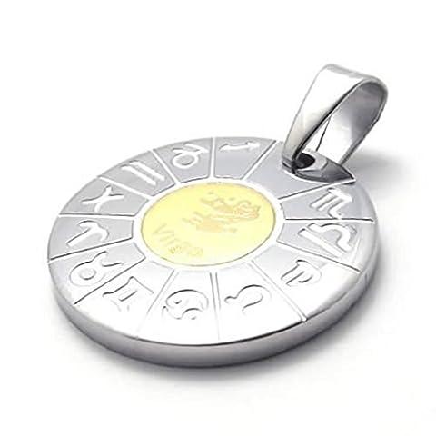 Stainless Steel Necklaces, Women's Men's Pendant Necklaces Zodiac Virgo 24Inch