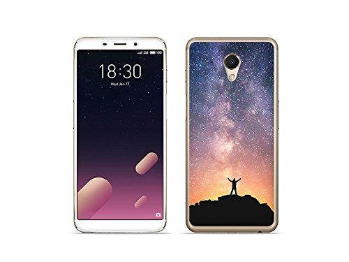 etuo Handyhülle für Meizu M6s - Hülle Foto Case - Himmel mit Sternen - Handyhülle Schutzhülle Etui Case Cover Tasche für Handy
