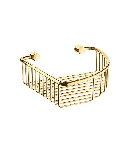 "Smedbo Brass Polished ""Villa"" Corner Soap Basket, Gold"