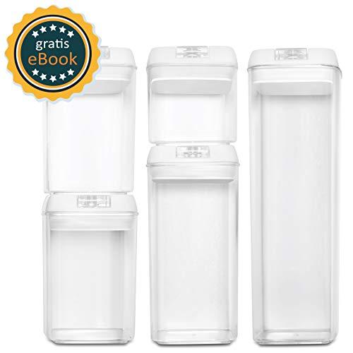 BASIL | Vakuum Vorratsdosen Set & Frischhaltedosen | 5er-Set | BPA frei & spülmaschinengeeignet | luftdicht & wasserdicht | Aufbewahrungsdose & Vorratsbehälter mit Beschriftungsetikett