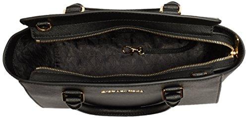 Michael Kors - Selma Saffiano Leather Medium Satchel, Borsa con Maniglia Donna Nero (Black)